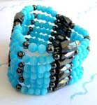 China trade health jewelry supplier wholesale blue cat eye beads magnetic hematite jewelry wrap