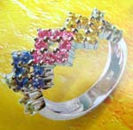Rhodium ring China discount distribution of combined diamond shape multi color cz ring