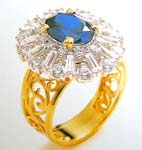 Promise jewelry China catalog online wholesale filigree gold ring with enlarge flower embedded deep blue and clear topaz
