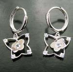 Great discount wholesale distributor of butterfly holding baby butterfly charm clear cz hoop earring