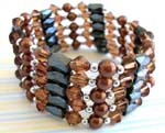 Online wholesale manufacturing of brown pearl beaded magnetic wrap arounds magnetic hematite jewelry