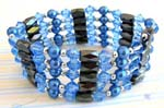 Beaded jewelry supplier wholesale blue crystal beaded magnetic wrap arounds magnetic hematite jewelry