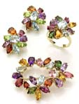 Wedding party jewelry lady's jewelry supplier assorted color cz flower pin jewelry set matched with ring and earrings